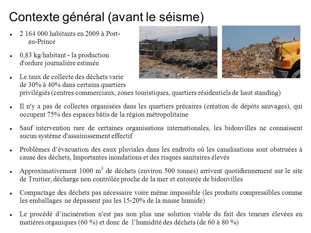 Contexte général (avant le séisme) 2 164 000 habitants en 2009 à Port- au-Prince 0,83 kg/habitant - la production d ordure journalière estimée Le taux de collecte des déchets varie de 30% à 40% dans certains quartiers privilégiés (centres commerciaux, zones touristiques, quartiers résidentiels de haut standing) Il n y a pas de collectes organisées dans les quartiers précaires (création de dépôts sauvages), qui occupent 75% des espaces bâtis de la région métropolitaine Sauf intervention rare de certaines organisations internationales, les bidonvilles ne connaissent aucun système d assainissement effectif Problèmes dévacuation des eaux pluviales dans les endroits où les canalisations sont obstruées à cause des déchets, Importantes inondations et des risques sanitaires élevés Approximativement 1000 m 3 de déchets (environ 500 tonnes) arrivent quotidiennement sur le site de Truitier, décharge non contrôlée proche de la mer et entourée de bidonvilles Compactage des déchets pas nécessaire voire même impossible (les produits compressibles comme les emballages ne dépassent pas les 15-20% de la masse humide) Le procédé dincinération n est pas non plus une solution viable du fait des teneurs élevées en matières organiques (60 %) et donc de lhumidité des déchets (de 60 à 80 %)