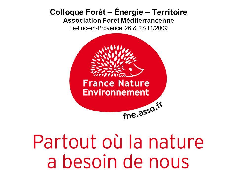 5 février 2009 Colloque Forêt – Énergie – Territoire Association Forêt Méditerranéenne Le-Luc-en-Provence 26 & 27/11/2009