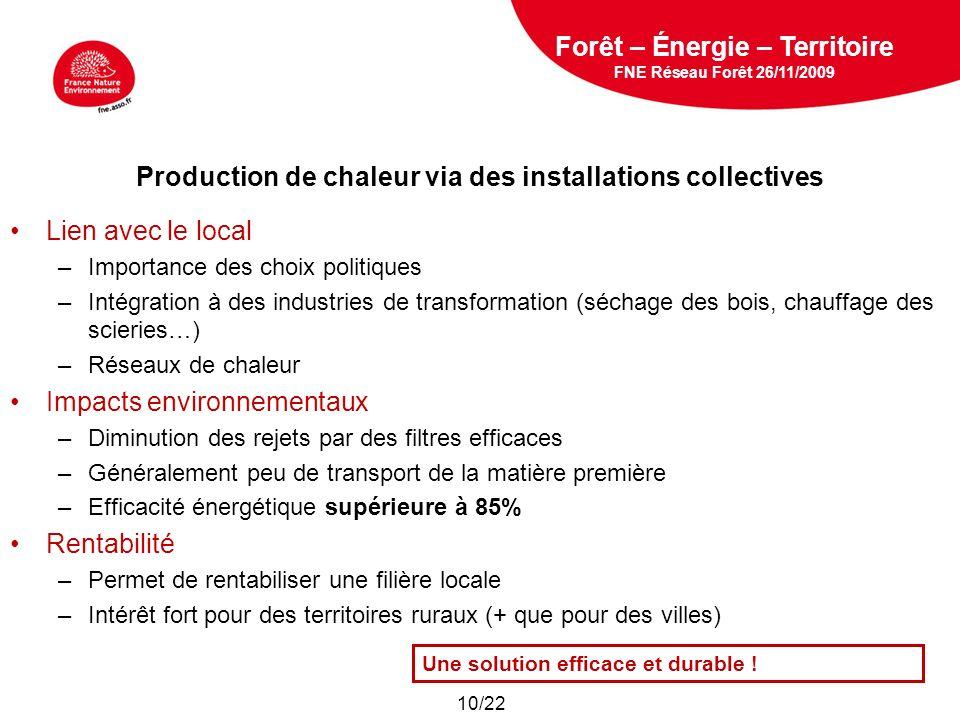 5 février 2009 Production de chaleur via des installations collectives Lien avec le local –Importance des choix politiques –Intégration à des industri
