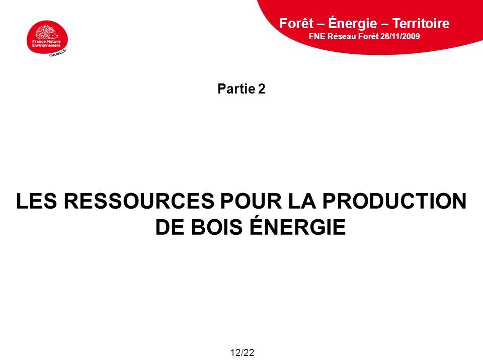 5 février 2009 Partie 2 LES RESSOURCES POUR LA PRODUCTION DE BOIS ÉNERGIE Forêt – Énergie – Territoire FNE Réseau Forêt 26/11/2009 12/22