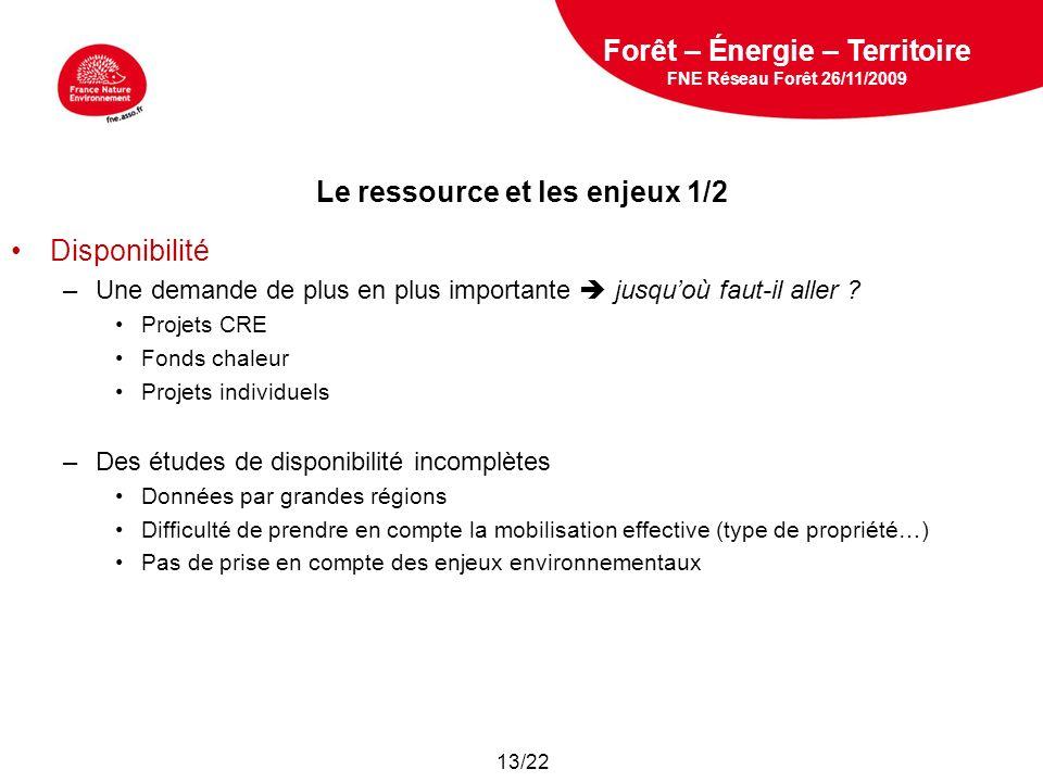 5 février 2009 Le ressource et les enjeux 1/2 Disponibilité –Une demande de plus en plus importante jusquoù faut-il aller ? Projets CRE Fonds chaleur