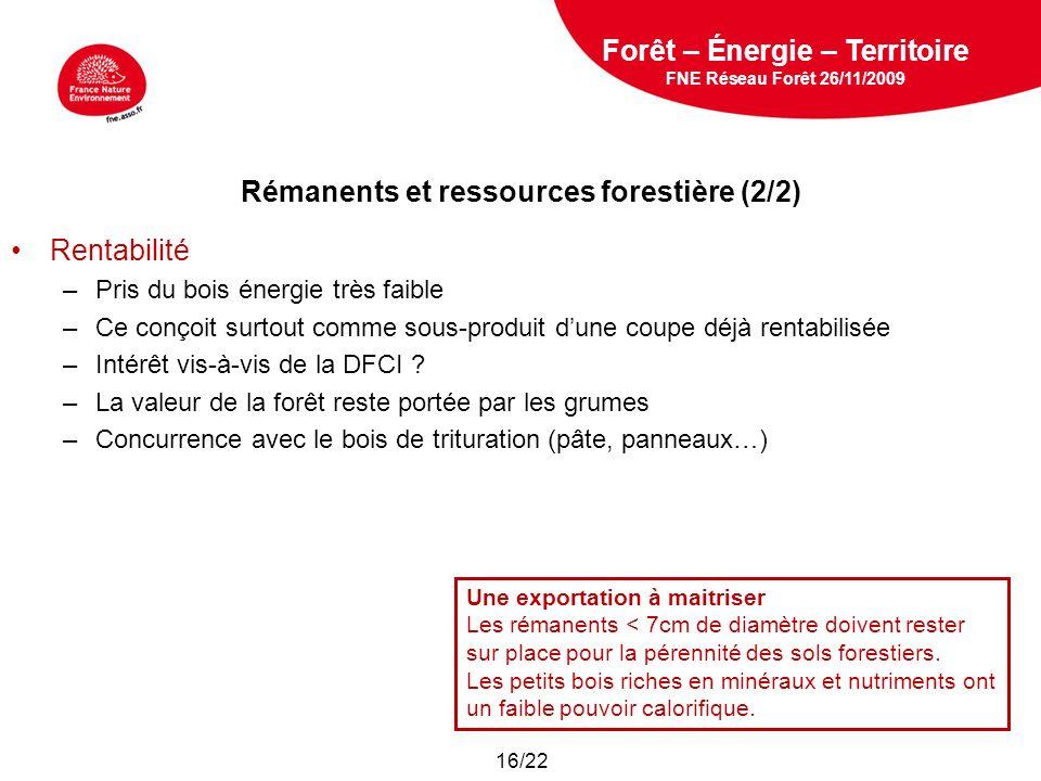 5 février 2009 Rentabilité –Pris du bois énergie très faible –Ce conçoit surtout comme sous-produit dune coupe déjà rentabilisée –Intérêt vis-à-vis de la DFCI .