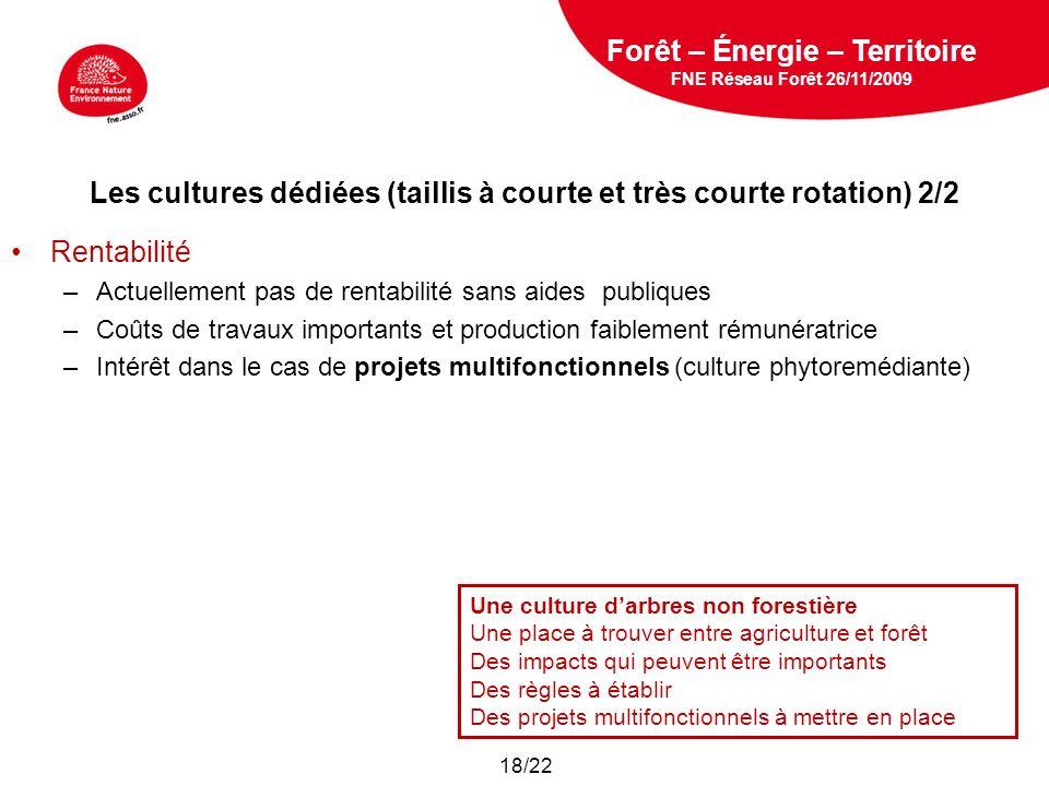 5 février 2009 Les cultures dédiées (taillis à courte et très courte rotation) 2/2 Rentabilité –Actuellement pas de rentabilité sans aides publiques –