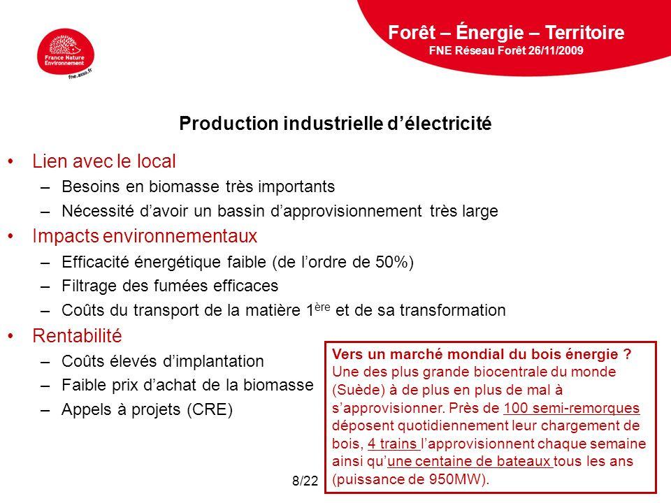 5 février 2009 Production industrielle délectricité Lien avec le local –Besoins en biomasse très importants –Nécessité davoir un bassin dapprovisionnement très large Impacts environnementaux –Efficacité énergétique faible (de lordre de 50%) –Filtrage des fumées efficaces –Coûts du transport de la matière 1 ère et de sa transformation Rentabilité –Coûts élevés dimplantation –Faible prix dachat de la biomasse –Appels à projets (CRE) Forêt – Énergie – Territoire FNE Réseau Forêt 26/11/2009 Vers un marché mondial du bois énergie .