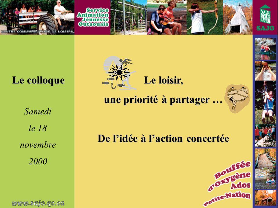 Le colloque Le loisir, une priorité à partager … De lidée à laction concertée Samedi le 18 novembre 2000