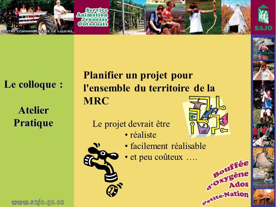 Le colloque : AtelierPratique Planifier un projet pour l ensemble du territoire de la MRC Le projet devrait être réaliste facilement réalisable et peu coûteux ….