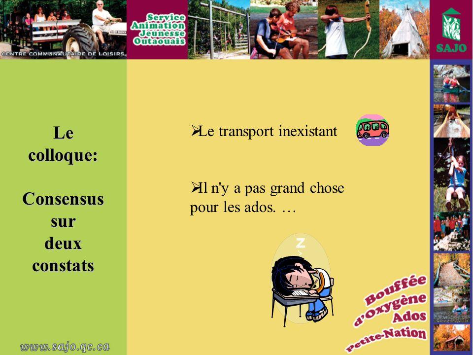 Le colloque: Consensussurdeuxconstats Le transport inexistant Il n y a pas grand chose pour les ados.