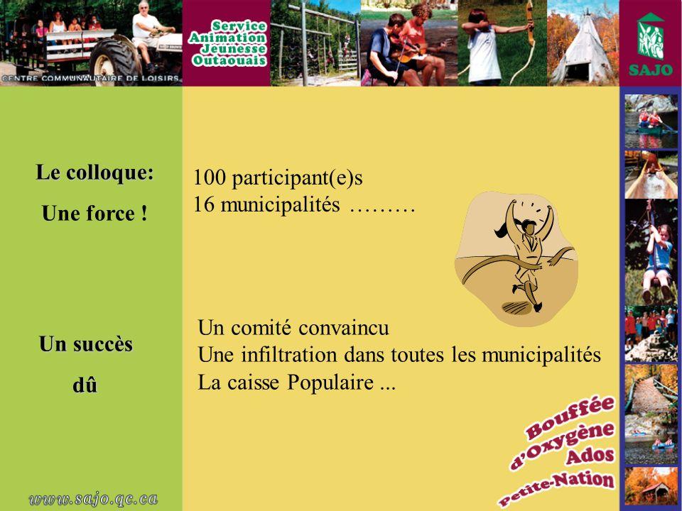 100 participant(e)s 16 municipalités ……… Un succès dû Le colloque: Une force .