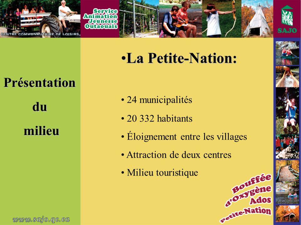 Présentationdu milieu milieu La Petite-Nation:La Petite-Nation: 24 municipalités 20 332 habitants Éloignement entre les villages Attraction de deux centres Milieu touristique