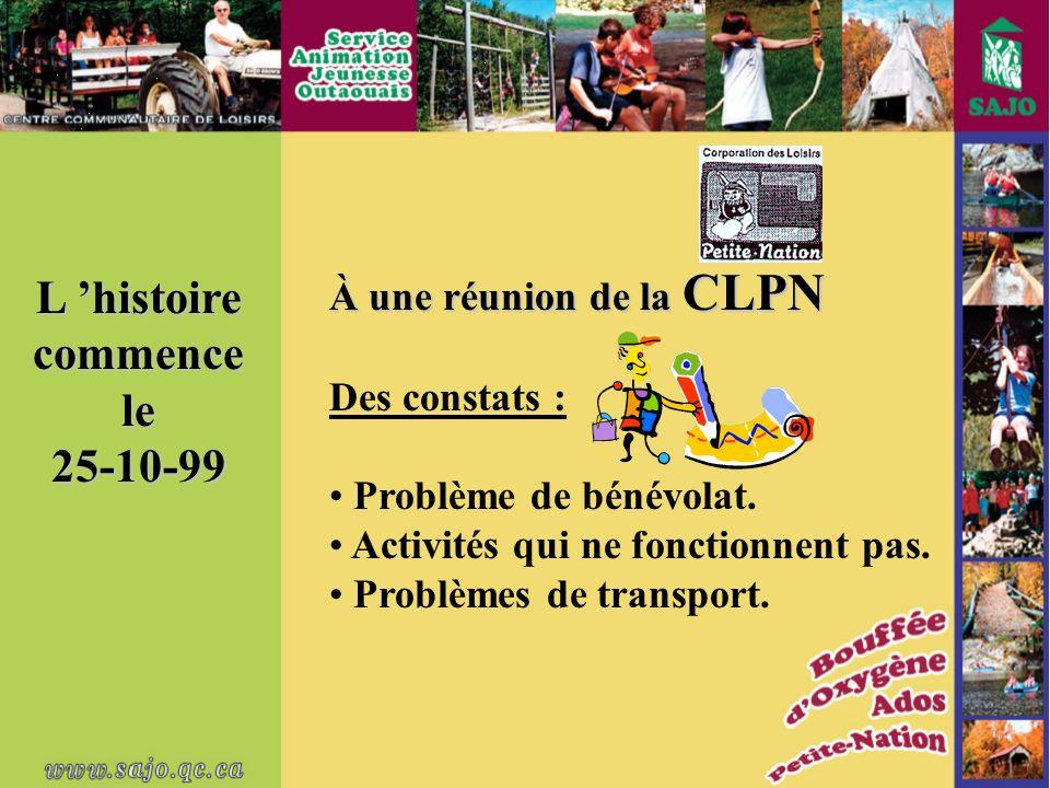 L histoire commence le25-10-99 À une réunion de la CLPN Des constats : Problème de bénévolat.