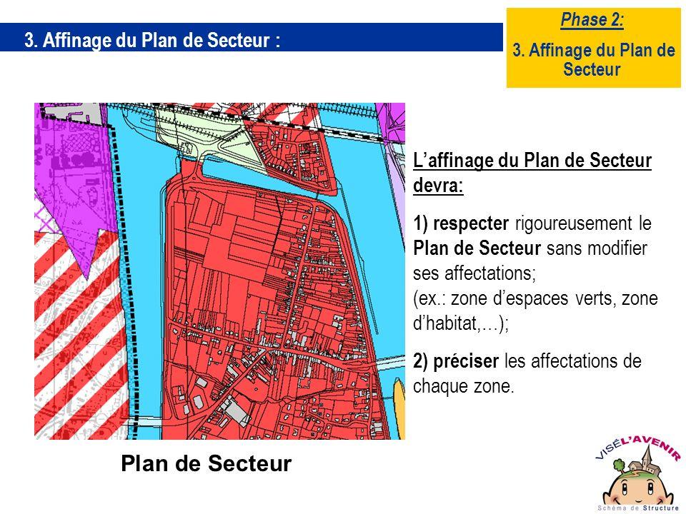 3. Affinage du Plan de Secteur : Laffinage du Plan de Secteur devra: 1) respecter rigoureusement le Plan de Secteur sans modifier ses affectations; (e