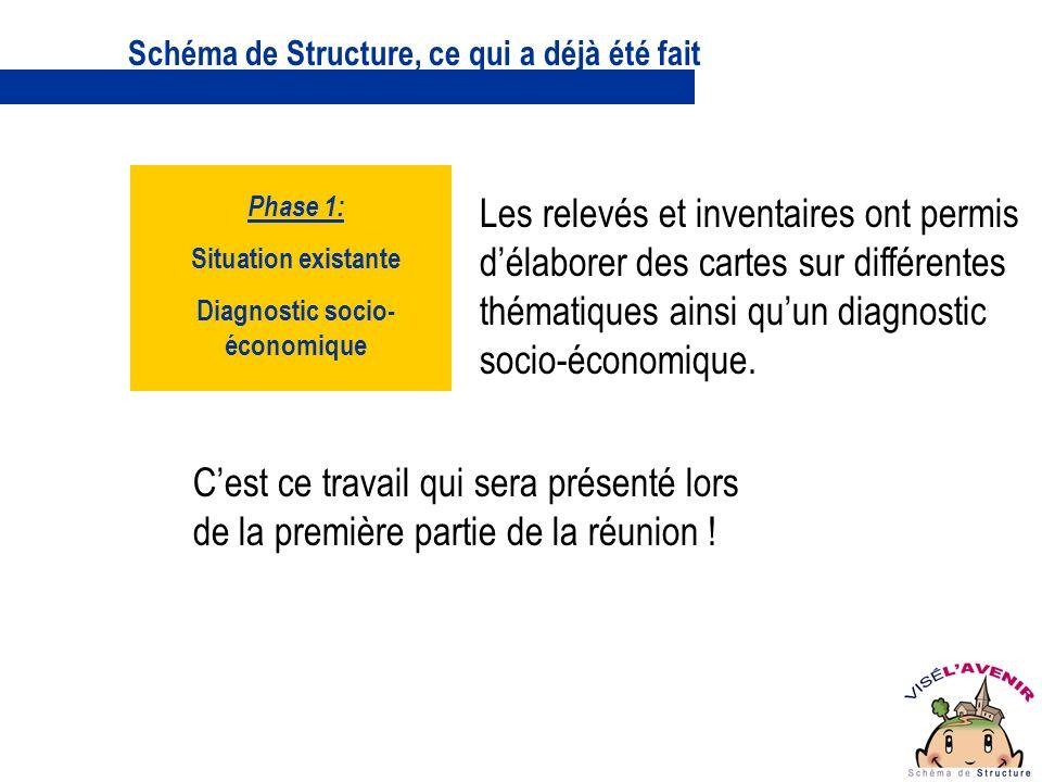 Schéma de Structure, ce qui a déjà été fait Les relevés et inventaires ont permis délaborer des cartes sur différentes thématiques ainsi quun diagnostic socio-économique.
