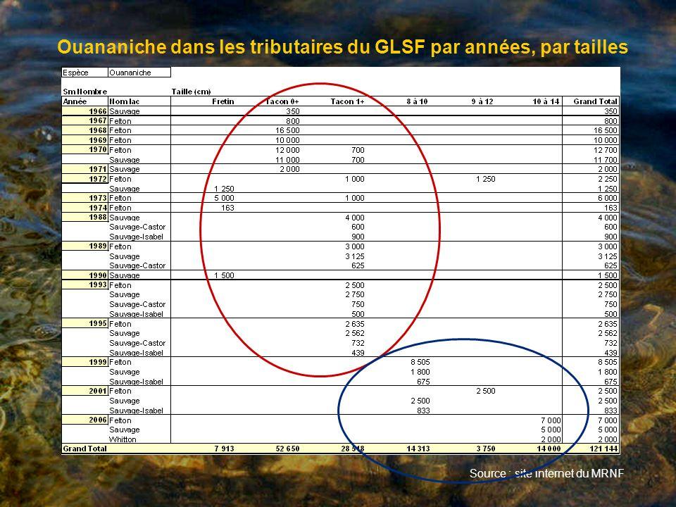 Ouananiche dans les tributaires du GLSF par années, par tailles Source : site internet du MRNF