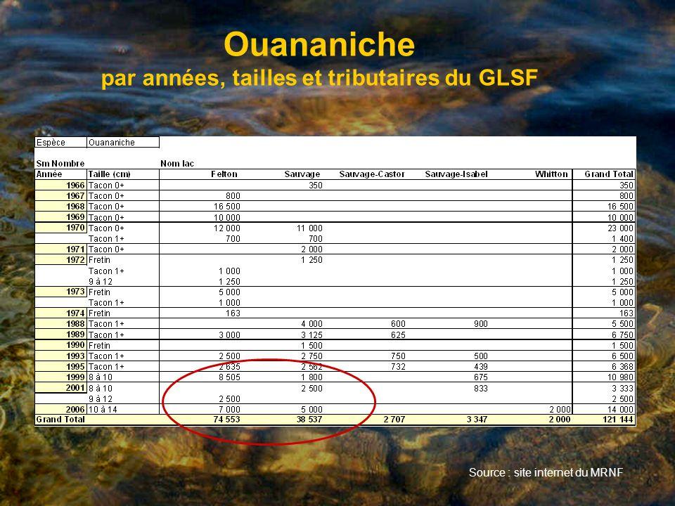 Ouananiche par années, tailles et tributaires du GLSF Source : site internet du MRNF