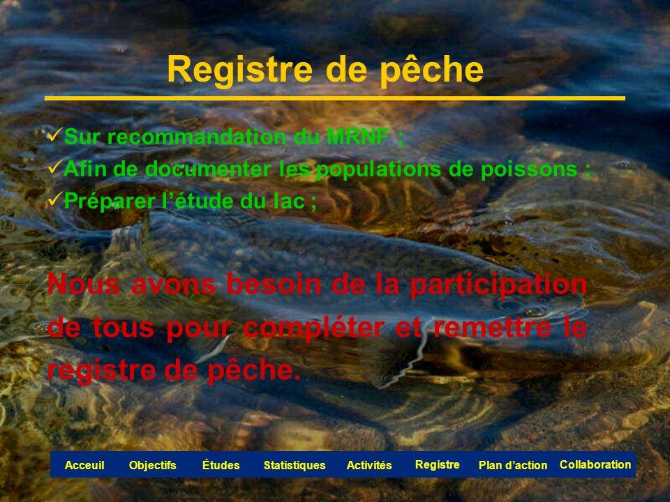 Registre de pêche Sur recommandation du MRNF ; Afin de documenter les populations de poissons ; Préparer létude du lac ; Nous avons besoin de la participation de tous pour compléter et remettre le registre de pêche.