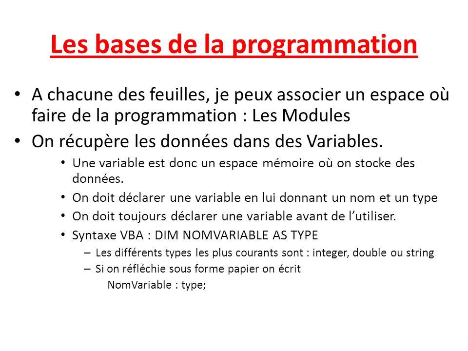 Les bases de la programmation A chacune des feuilles, je peux associer un espace où faire de la programmation : Les Modules On récupère les données dans des Variables.