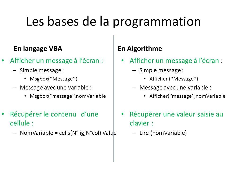 Les bases de la programmation En langage VBA Afficher un message à lécran : – Simple message : Msgbox(Message) – Message avec une variable : Msgbox(message,nomVariable Récupérer le contenu dune cellule : – NomVariable = cells(N°lig,N°col).Value En Algorithme Afficher un message à lécran : – Simple message : Afficher (Message) – Message avec une variable : Afficher(message,nomVariable Récupérer une valeur saisie au clavier : – Lire (nomVariable)