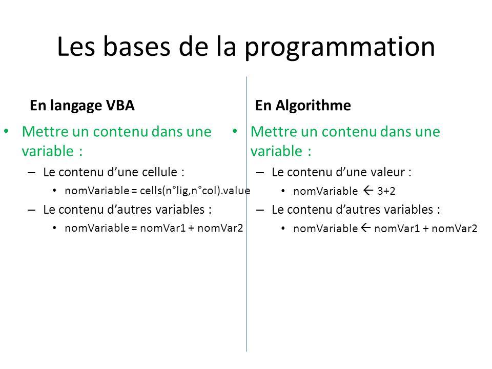 Les bases de la programmation En langage VBA Mettre un contenu dans une variable : – Le contenu dune cellule : nomVariable = cells(n°lig,n°col).value – Le contenu dautres variables : nomVariable = nomVar1 + nomVar2 En Algorithme Mettre un contenu dans une variable : – Le contenu dune valeur : nomVariable 3+2 – Le contenu dautres variables : nomVariable nomVar1 + nomVar2