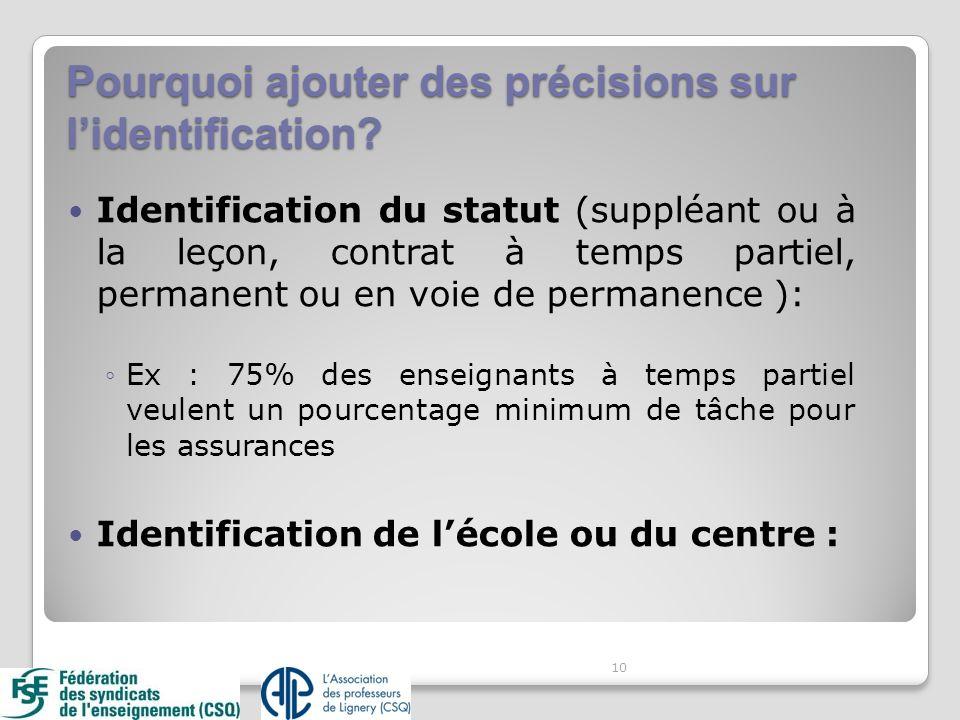 Pourquoi ajouter des précisions sur lidentification? Identification du statut (suppléant ou à la leçon, contrat à temps partiel, permanent ou en voie