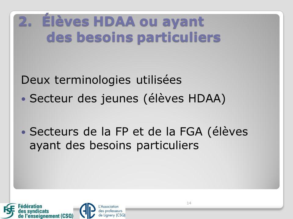 2.Élèves HDAA ou ayant des besoins particuliers Deux terminologies utilisées Secteur des jeunes (élèves HDAA) Secteurs de la FP et de la FGA (élèves ayant des besoins particuliers 14