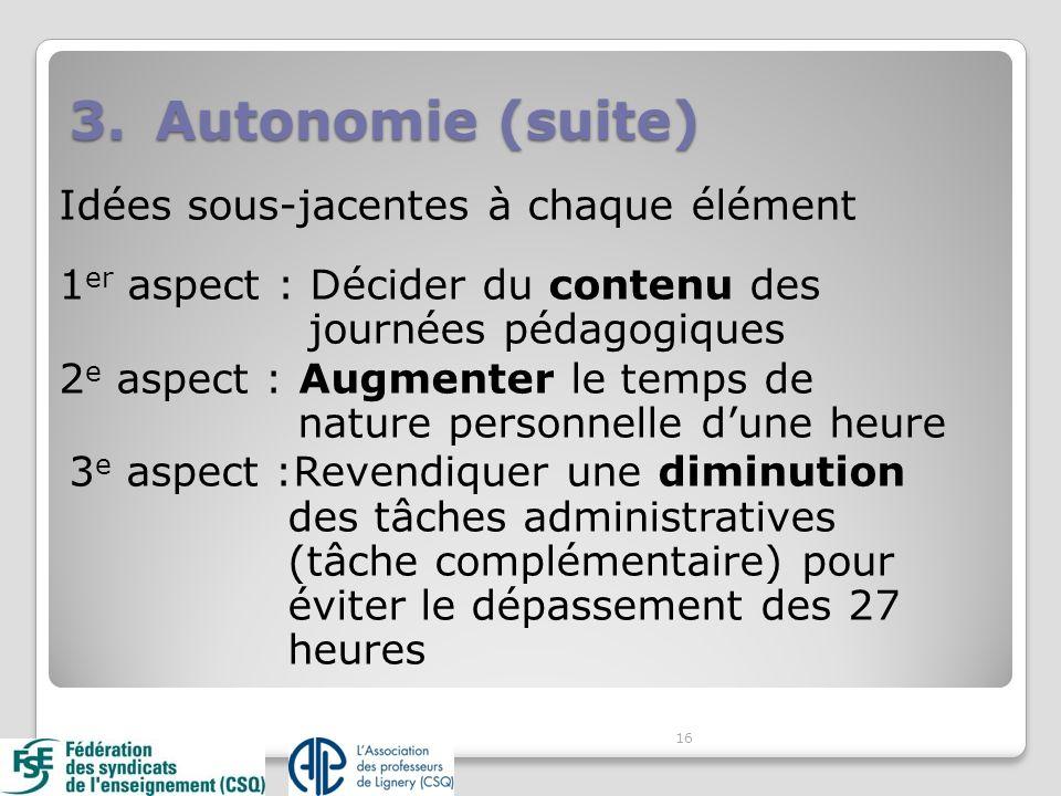 16 3.Autonomie (suite) Idées sous-jacentes à chaque élément 1 er aspect : Décider du contenu des journées pédagogiques 2 e aspect : Augmenter le temps