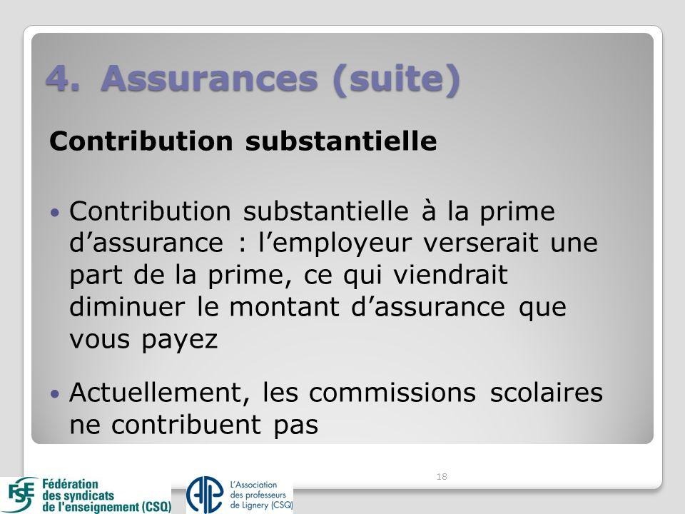 Contribution substantielle Contribution substantielle à la prime dassurance : lemployeur verserait une part de la prime, ce qui viendrait diminuer le