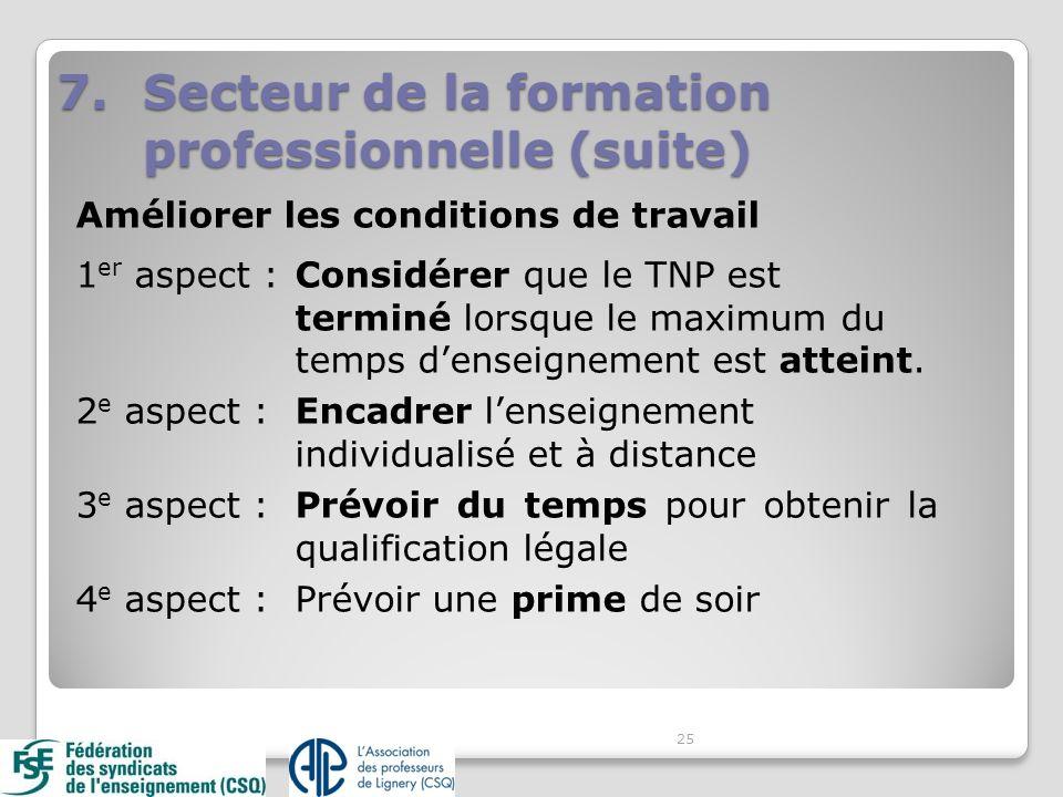 Améliorer les conditions de travail 1 er aspect : Considérer que le TNP est terminé lorsque le maximum du temps denseignement est atteint. 2 e aspect