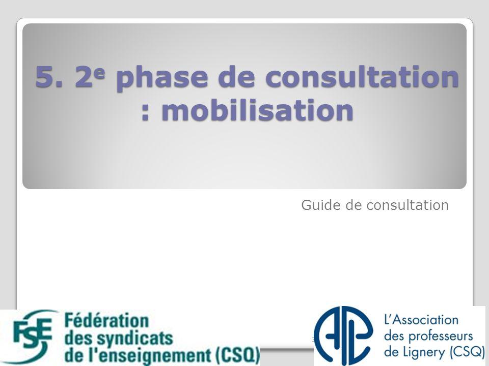 5. 2 e phase de consultation : mobilisation 5. 2 e phase de consultation : mobilisation Guide de consultation 35