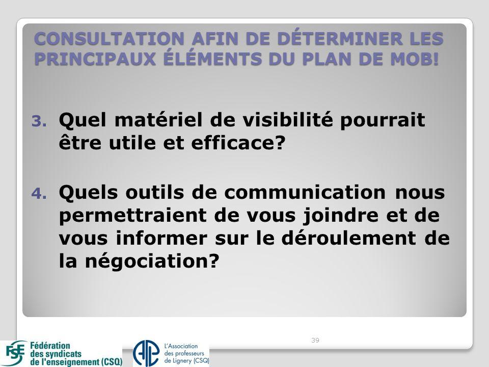 3. Quel matériel de visibilité pourrait être utile et efficace? 4. Quels outils de communication nous permettraient de vous joindre et de vous informe