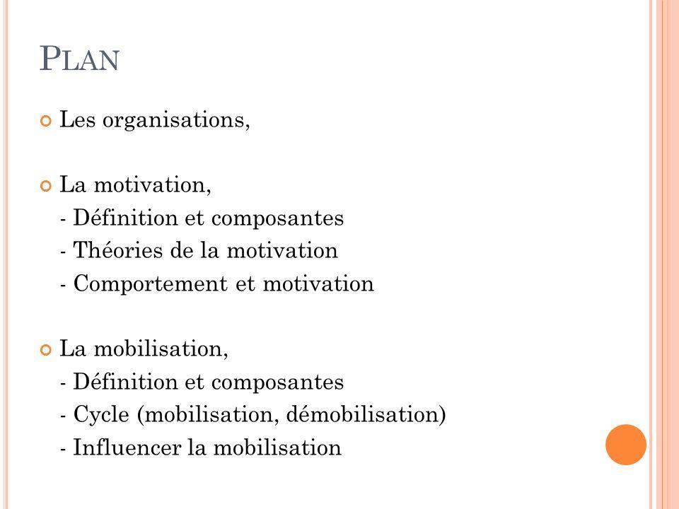 P LAN Les organisations, La motivation, - Définition et composantes - Théories de la motivation - Comportement et motivation La mobilisation, - Défini