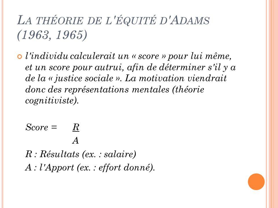 L A THÉORIE DE L ' ÉQUITÉ D 'A DAMS (1963, 1965) l'individu calculerait un « score » pour lui même, et un score pour autrui, afin de déterminer s'il y