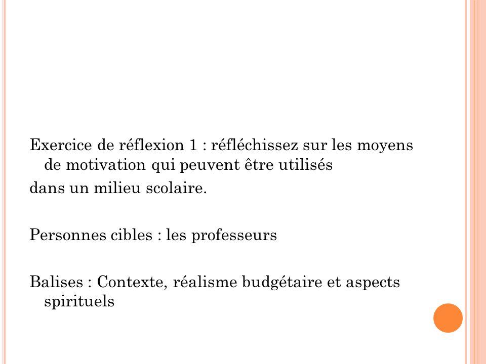 Exercice de réflexion 1 : réfléchissez sur les moyens de motivation qui peuvent être utilisés dans un milieu scolaire. Personnes cibles : les professe