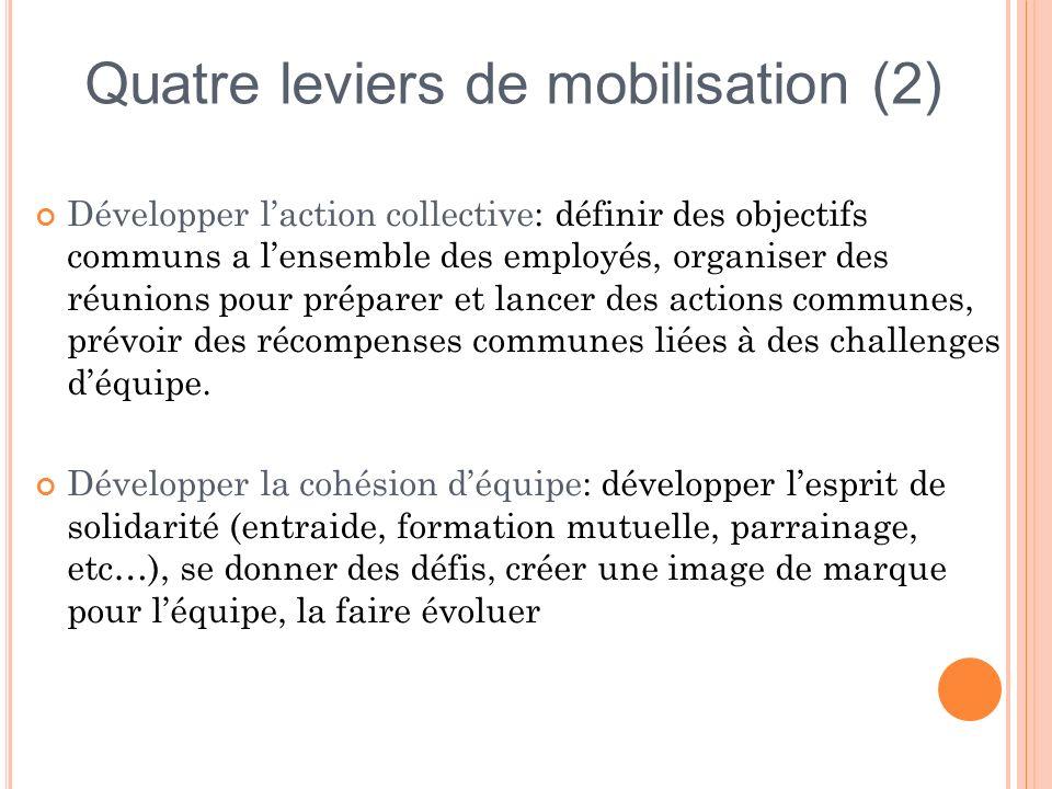 Développer laction collective: définir des objectifs communs a lensemble des employés, organiser des réunions pour préparer et lancer des actions comm