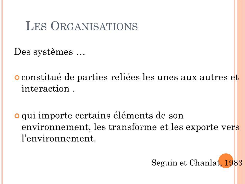 L ES O RGANISATIONS Des systèmes … constitué de parties reliées les unes aux autres et interaction. qui importe certains éléments de son environnement