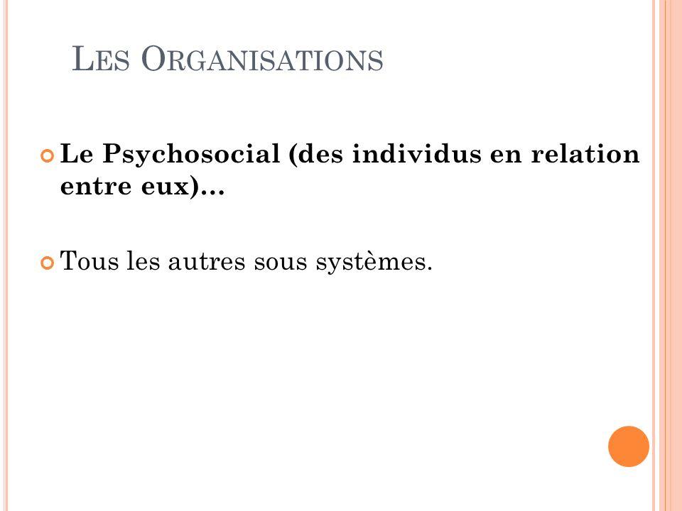 L ES O RGANISATIONS Le Psychosocial (des individus en relation entre eux)… Tous les autres sous systèmes.