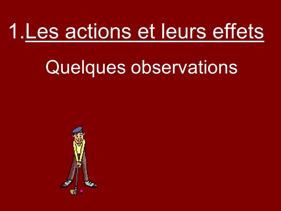 Quelques observations 1.Les actions et leurs effets