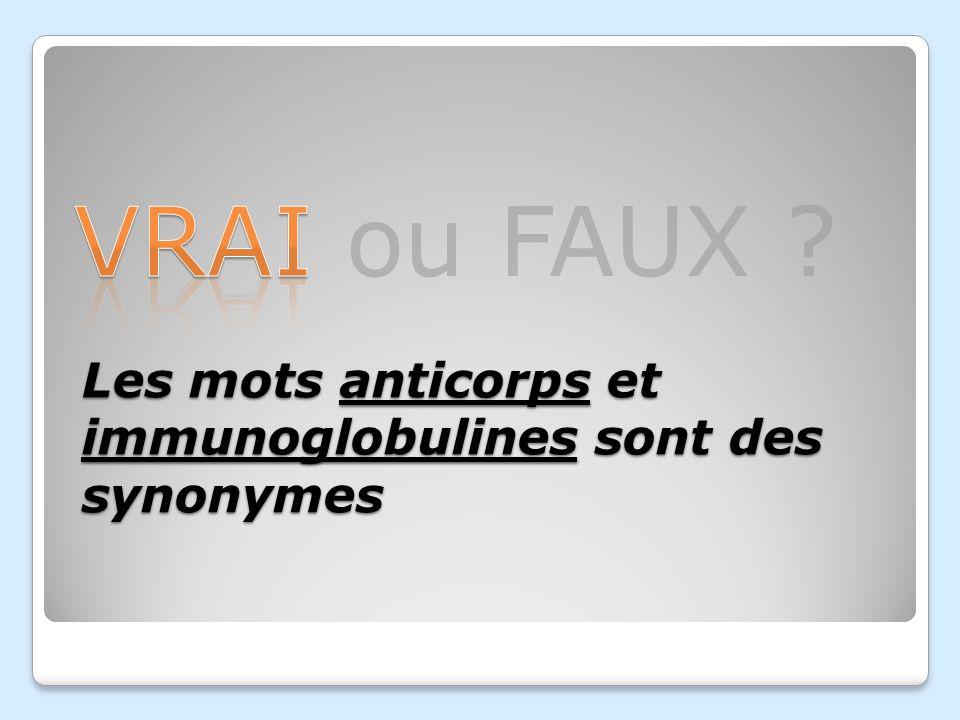 VRAI ou FAUX ? Les mots anticorps et immunoglobulines sont des synonymes