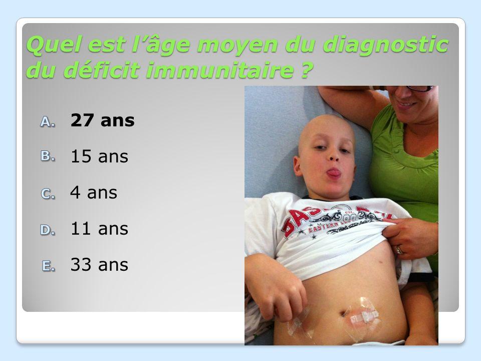 Quel est lâge moyen du diagnostic du déficit immunitaire ? 33 ans 11 ans 4 ans 15 ans 27 ans