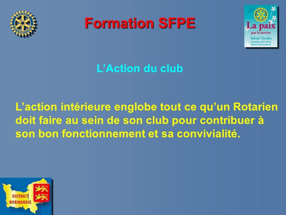 Formation SFPE LAction du club Laction intérieure englobe tout ce quun Rotarien doit faire au sein de son club pour contribuer à son bon fonctionnemen