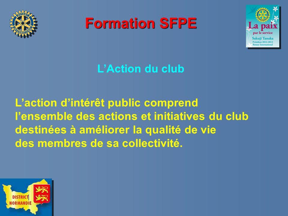 Formation SFPE LAction du club Laction dintérêt public comprend lensemble des actions et initiatives du club destinées à améliorer la qualité de vie d