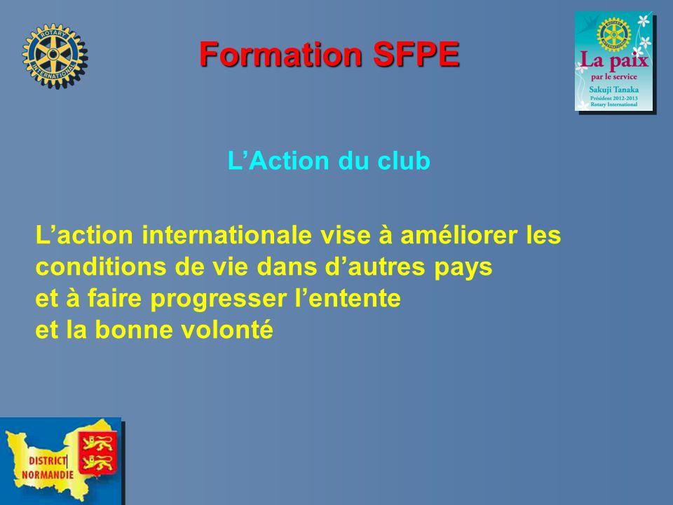 Formation SFPE LAction du club Laction internationale vise à améliorer les conditions de vie dans dautres pays et à faire progresser lentente et la bo