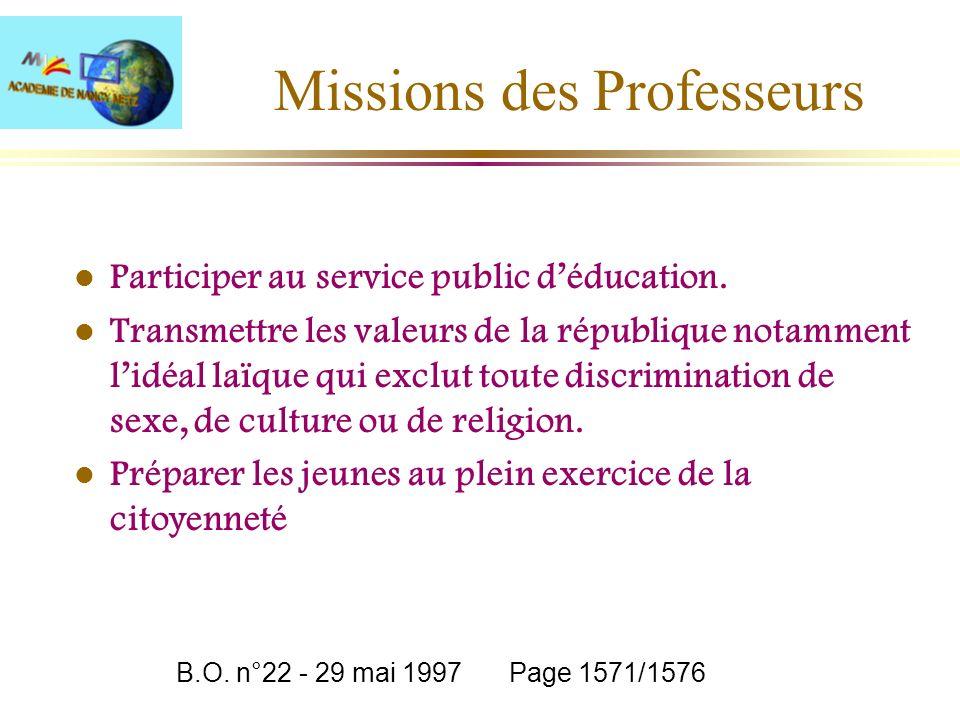 Missions des Professeurs l Participer au service public déducation. l Transmettre les valeurs de la république notamment lidéal laïque qui exclut tout