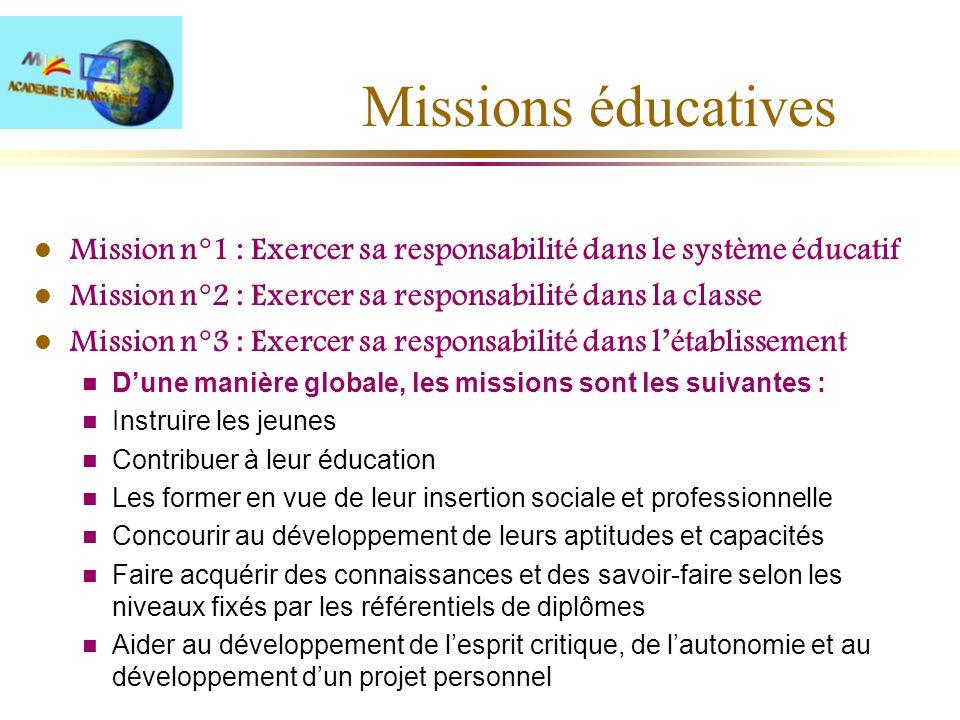 Missions éducatives l Mission n°1 : Exercer sa responsabilité dans le système éducatif l Mission n°2 : Exercer sa responsabilité dans la classe l Miss