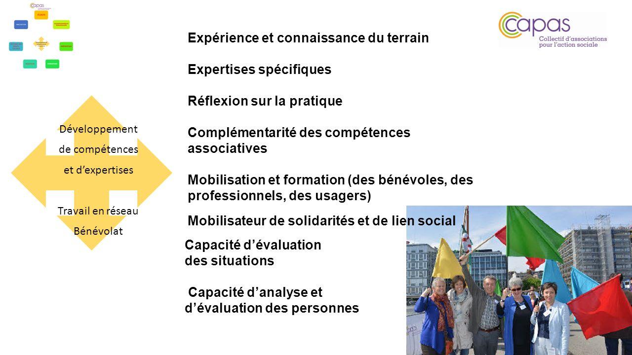Développement de compétences et dexpertises Travail en réseau Bénévolat Expérience et connaissance du terrain Expertises spécifiques Réflexion sur la