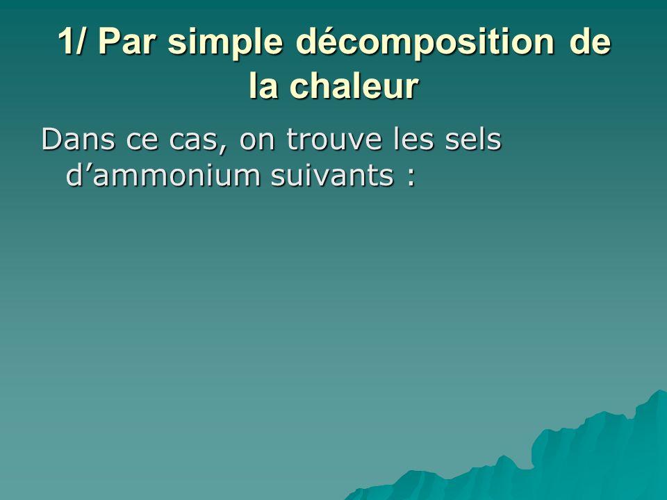 1/ Par simple décomposition de la chaleur Dans ce cas, on trouve les sels dammonium suivants :