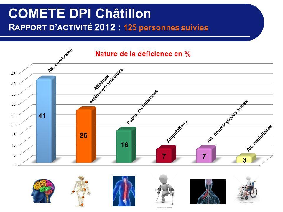 COMETE DPI Châtillon R APPORT D ACTIVITÉ 2012 : 125 personnes suivies Amputations Atteintes ostéo-myo-articulaire Patho. rachidiennes Att. cérébrales