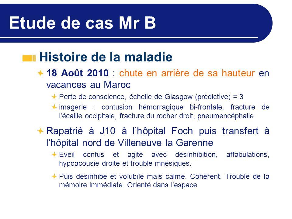 Etude de cas Mr B Histoire de la maladie 18 Août 2010 : chute en arrière de sa hauteur en vacances au Maroc Perte de conscience, échelle de Glasgow (p