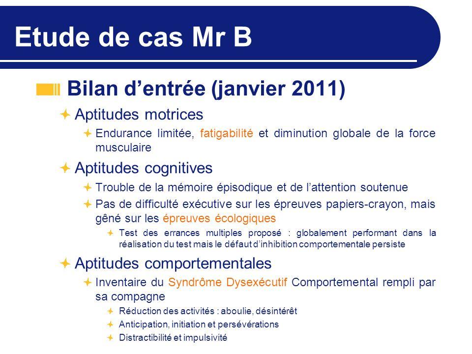 Etude de cas Mr B Bilan dentrée (janvier 2011) Aptitudes motrices Endurance limitée, fatigabilité et diminution globale de la force musculaire Aptitud