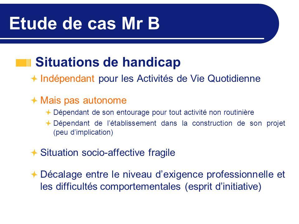 Etude de cas Mr B Situations de handicap Indépendant pour les Activités de Vie Quotidienne Mais pas autonome Dépendant de son entourage pour tout acti