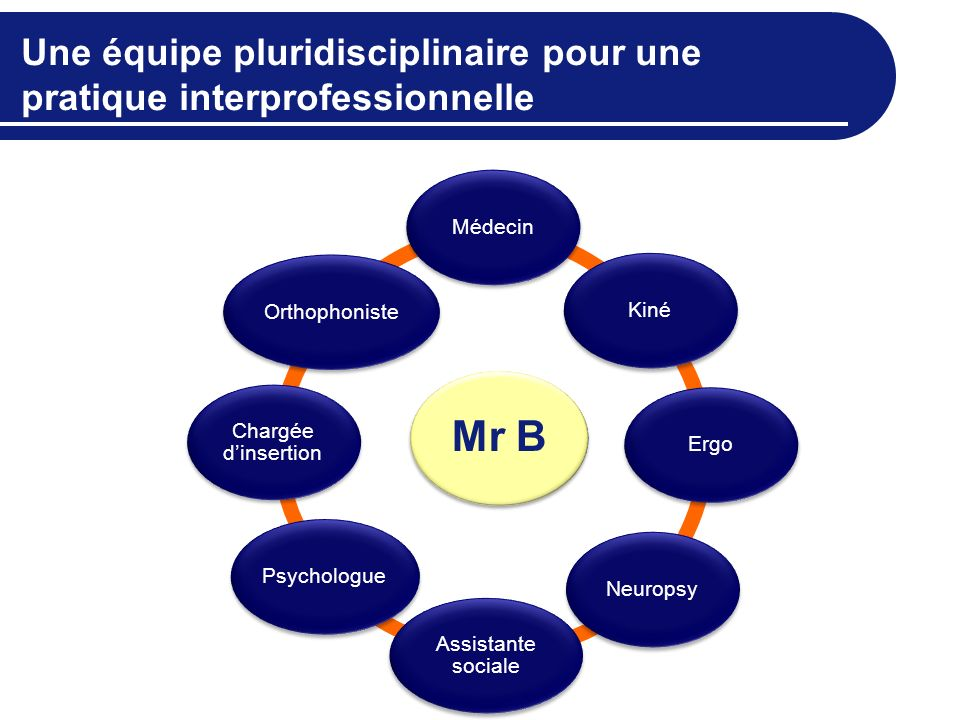 Une équipe pluridisciplinaire pour une pratique interprofessionnelle Mr B MédecinKinéErgoNeuropsy Assistante sociale Psychologue Chargée dinsertion Or